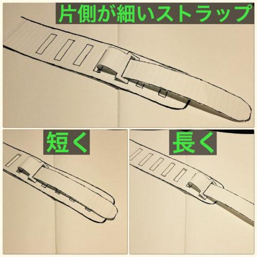 ベルトタイプのストラップの長さ調整