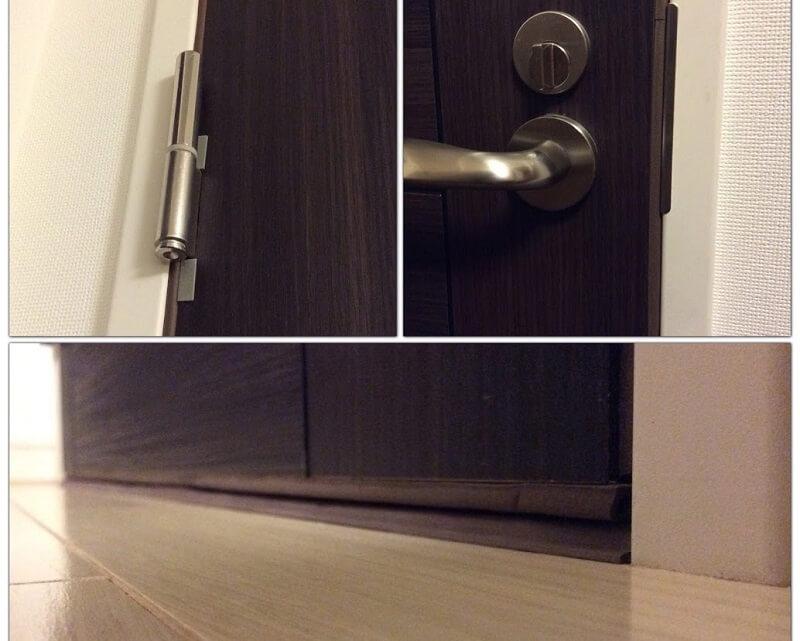 ドアの隙間を防音テープで埋めた様子