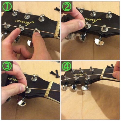 弦を巻き始める位置の目安