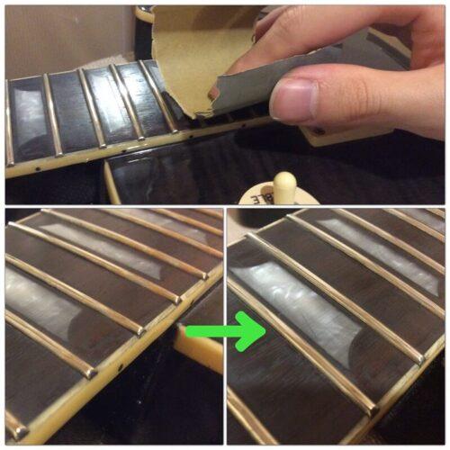 フレット側面に残った錆びを磨く様子