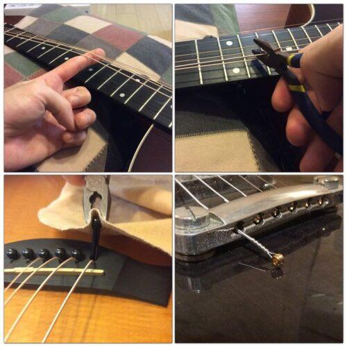 ギターの古い弦を外す様子