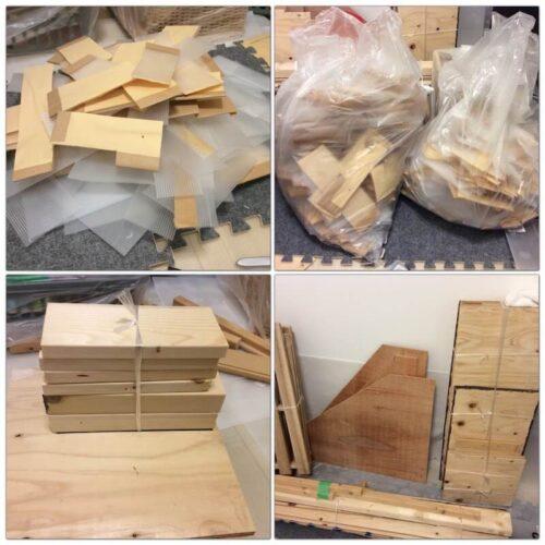 木材とプラダンを捨てる様子