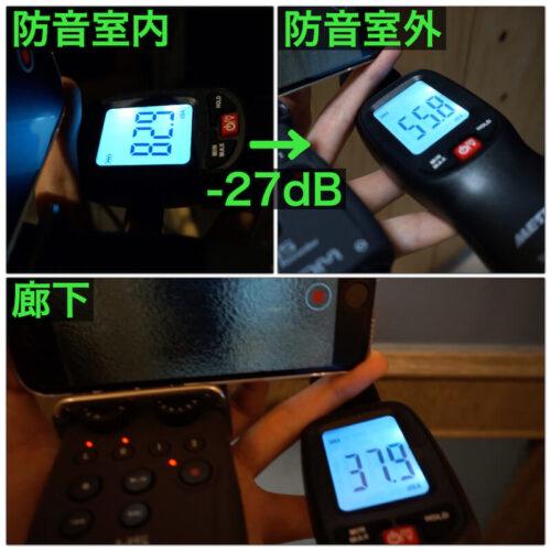 騒音計による防音効果測定