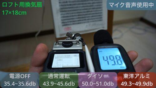 小型換気扇の駆動音測定